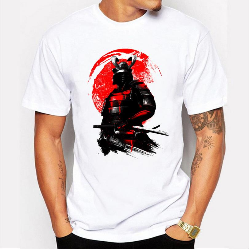 2017 men's fashion short sleeve Samurai Warrior t-shirt Harajuku funny tee shirts Hipster O-neck cool tops