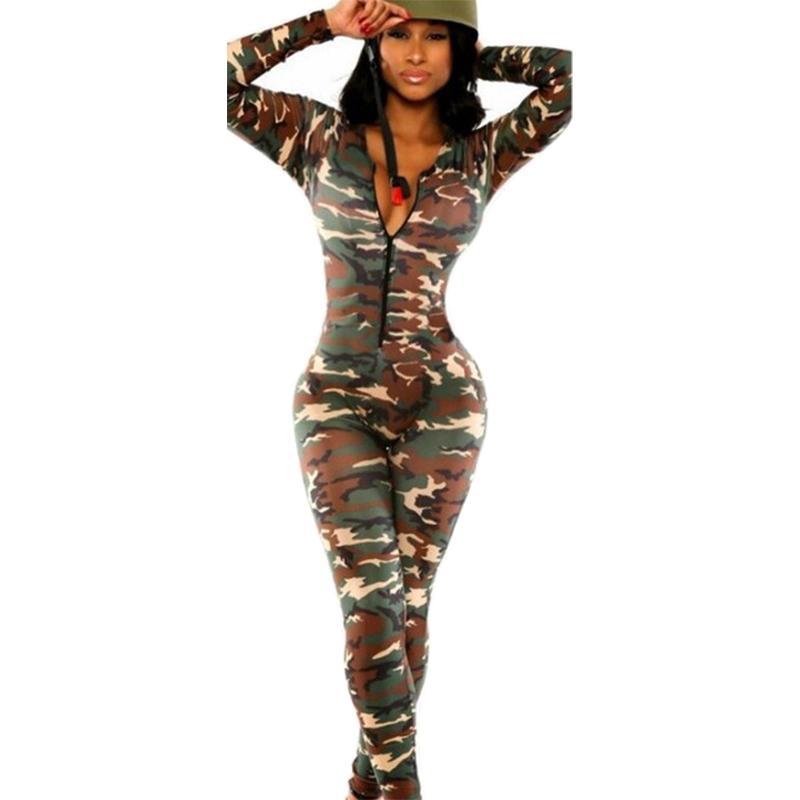 Venta al por mayor- 2017 Modelos de ráfaga de ráfagas Mujeres mamelucas Europa América de manga larga Camuflaje de camuflaje sexy discoteca pieza pantalones Vestidos SJ2089