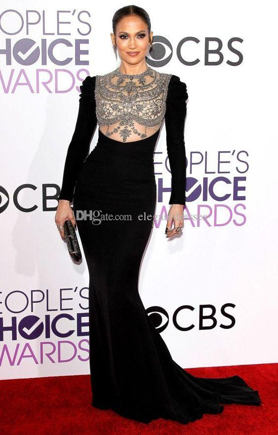 Custom Made 2017 Oscar Black Long Sleeve Jennifer Lopez Red Carpet Celebrity Dresses Sheer Beaded Evening Gowns Prom Party Dress