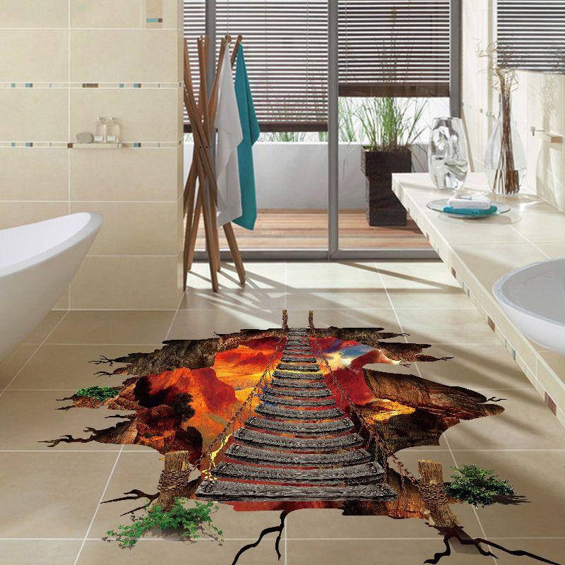 Adesivi per pavimento in 3D 2 Volcanic Magma Crack Decalcomania DIY Adesivi murali removibili Camera da letto Soggiorno Decorazione del fondo del corridoio