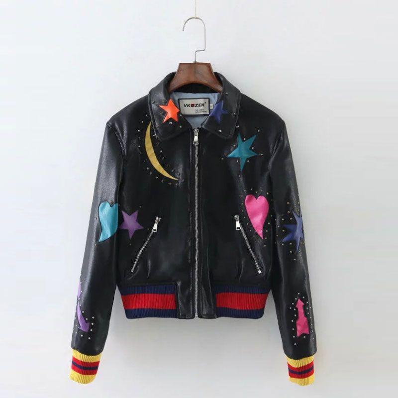 Atacado- 2016 inverno 100% PU de couro do punk jaqueta lua estrela amor remendo manga costela rebite preto bombardeiro contraste mulheres casaco de beisebol outwear