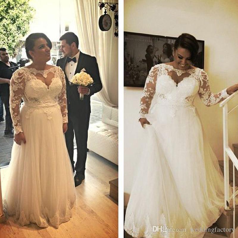 A Line Plus Size Brautkleider Charming Heart Shaped Spitze Appliques Top Illusion Long Sleeves Tüll Brautkleider mit Perlen