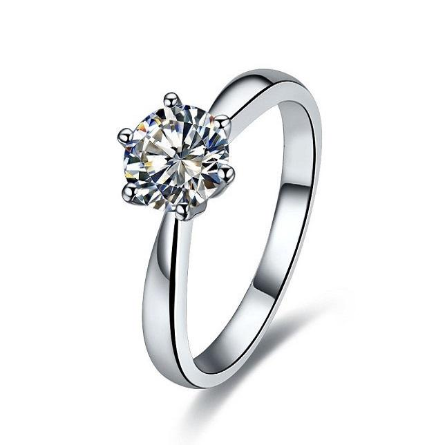 Sterling Silver Jewelry 2Carat anel de noivado Pontas Solitaire NSCD diamante por Mulheres 18K White Gold Plated Jewelry S925 Royal Crown design