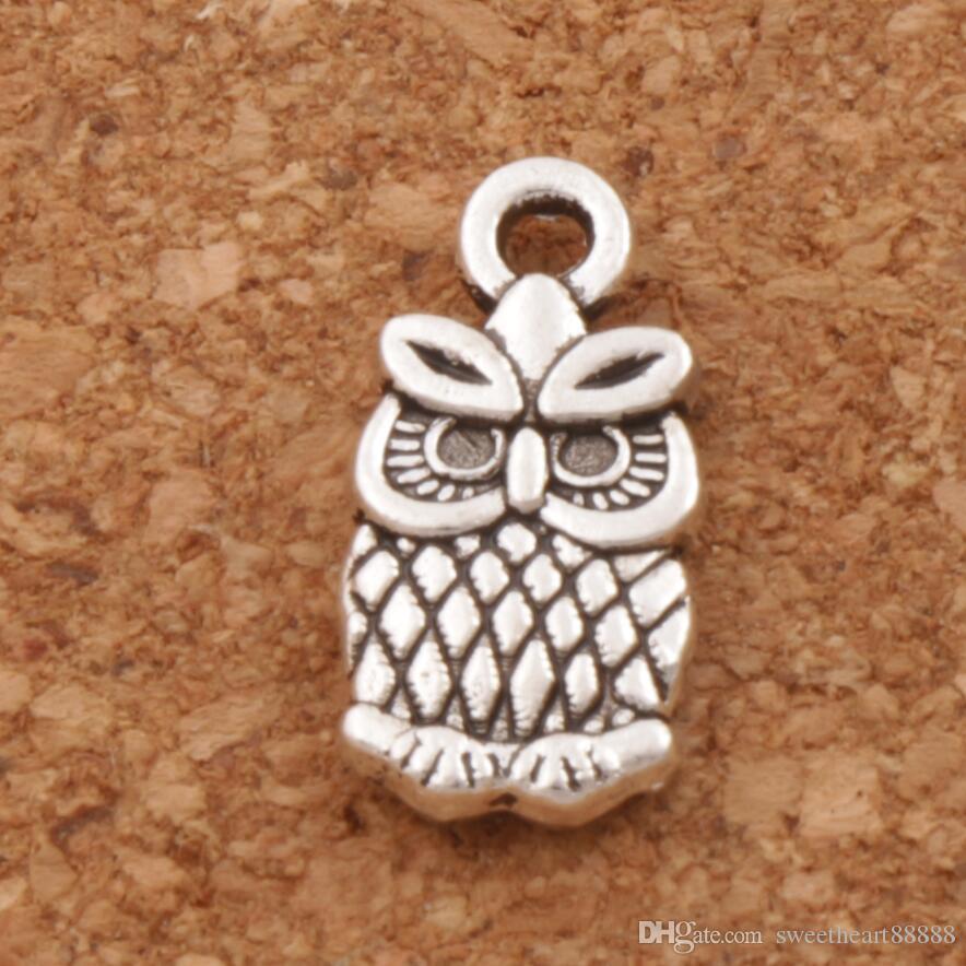 Petit hibou breloques pendentifs 7x15mm 200pcs / lot antique bijoux de mode en argent DIY Fit Bracelets Collier Boucles d'oreilles L987
