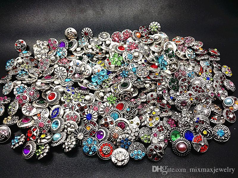 venta al por mayor 100 unids / lote surtidos diseños de mezcla de plata antigua snap 12 mm diy encantos botones rhinestone a estrenar