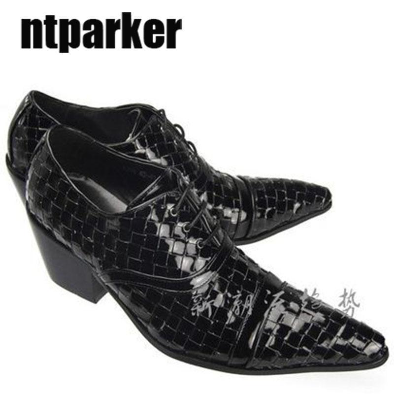 4.5CM Talons de luxe de style britannique à bout pointu en cuir chaussures homme robe ascenseur laçage chaussures, chaussures de sport