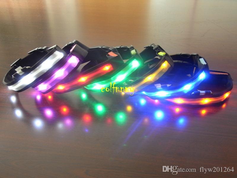 50pcs / lot trasporto veloce infiammante in collare nero scuro di sicurezza LED Collare di modo LED di illuminazione di modo di 3 punti LED Pet Collar