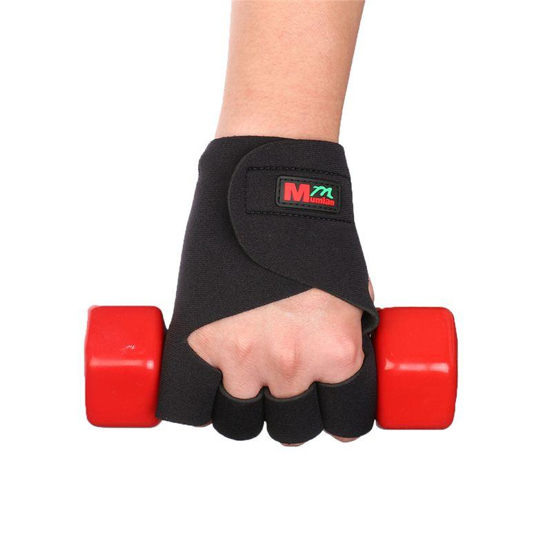 MUMIAN 1 par Deportes Fitness Ciclismo Mano Finger Brace Support Wrap Guantes negros Guantes deportivos Hasp Wrist Support