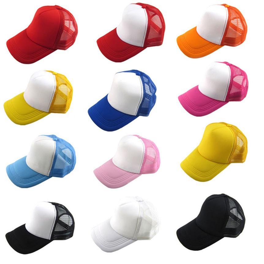 Atacado-Coolbeener Unisex Casual chapéu sólido boné de beisebol do camionista malha viseira em branco chapéu ajustável dec7