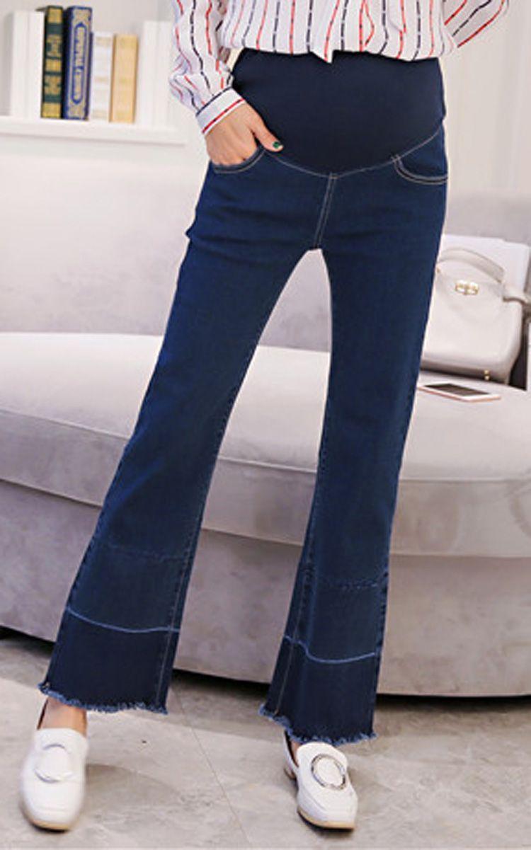 2017 Women Denim Adjustable High Waist Bell Bottom Jeans Maternity ...