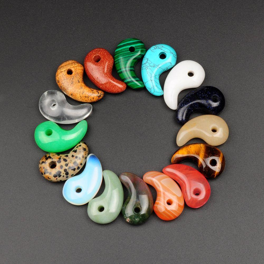Random Colors Agate Dalmation Jasper Pendulum Beads Cashew Comma Charms Pendants Fit Original Bracelet Necklace DIY Quartz Jewelry 10Pcs