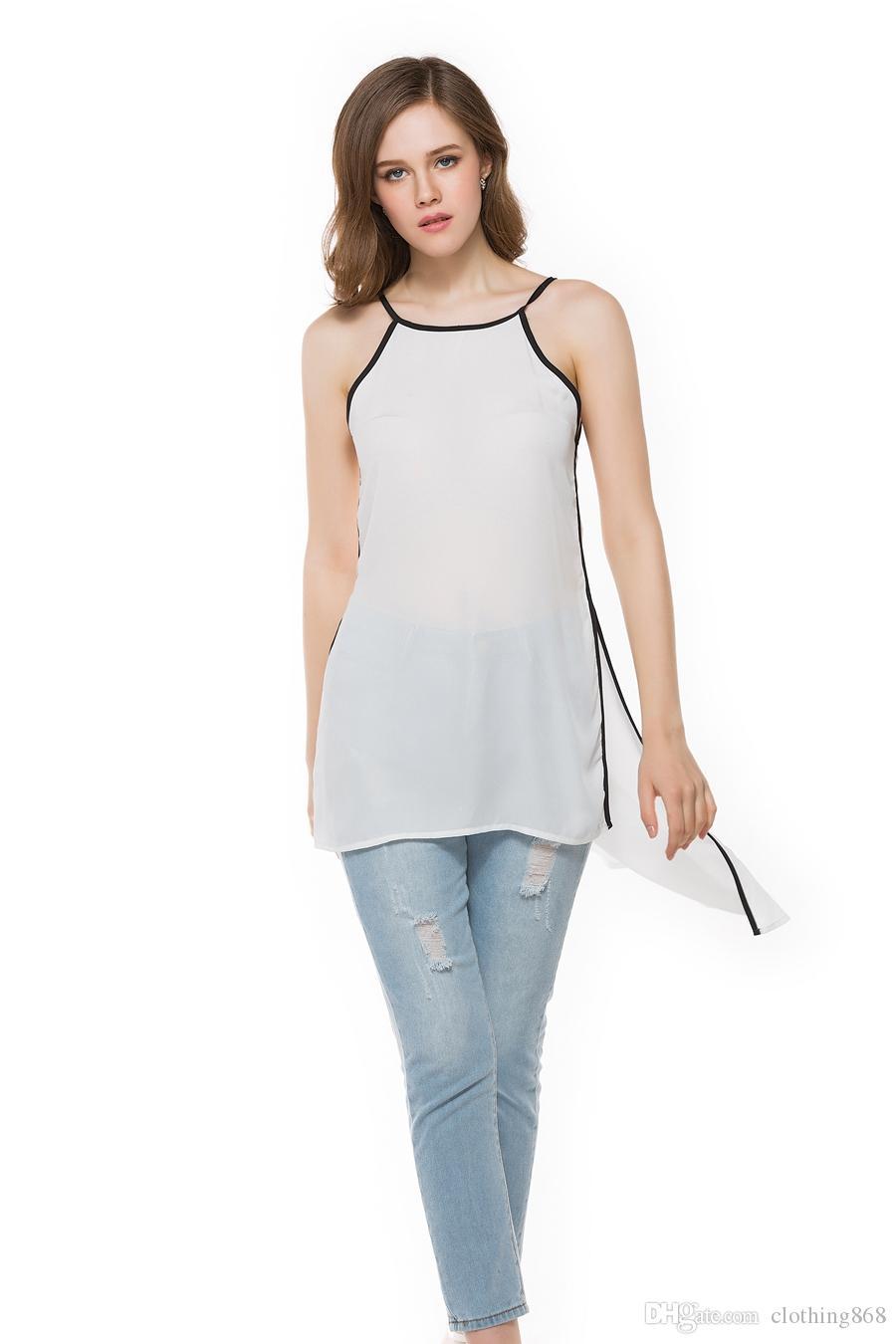 Shirt design female - Hot Selling Women Clothing T Shirt Personality Lacing Design Fashion Sexy Girl White Sling Long