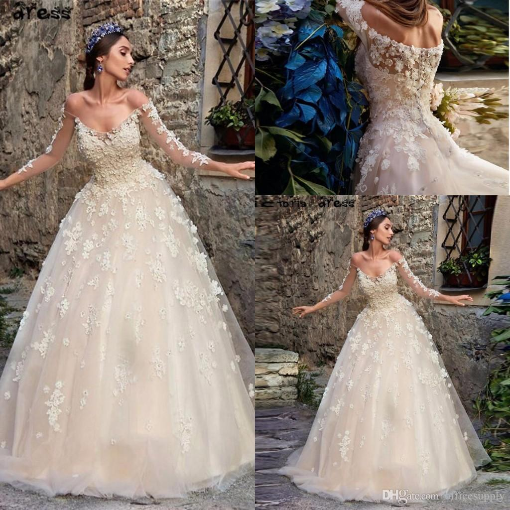Discount 2019 Spring Boho Wedding Dresses With Sheer Long Sleeves Off Shoulder Backless Plus Size Vintage Lace Western Country Bridal Gowns Sweetheart