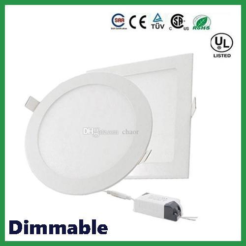 DHL ücretsiz gönderim Dim Yuvarlak Kare LED Panel Işıkları 6W 9W 12W 15W 18W 21W 30W 4-5-6-7-8-9-12 İnç Gömme LED Tavan Işık