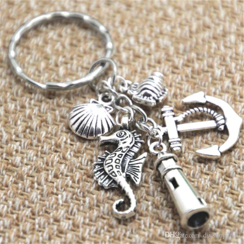12шт пляж брелок рыба якорь Маяк ракушка морской конек очарование брелок ювелирные изделия серебряный тон