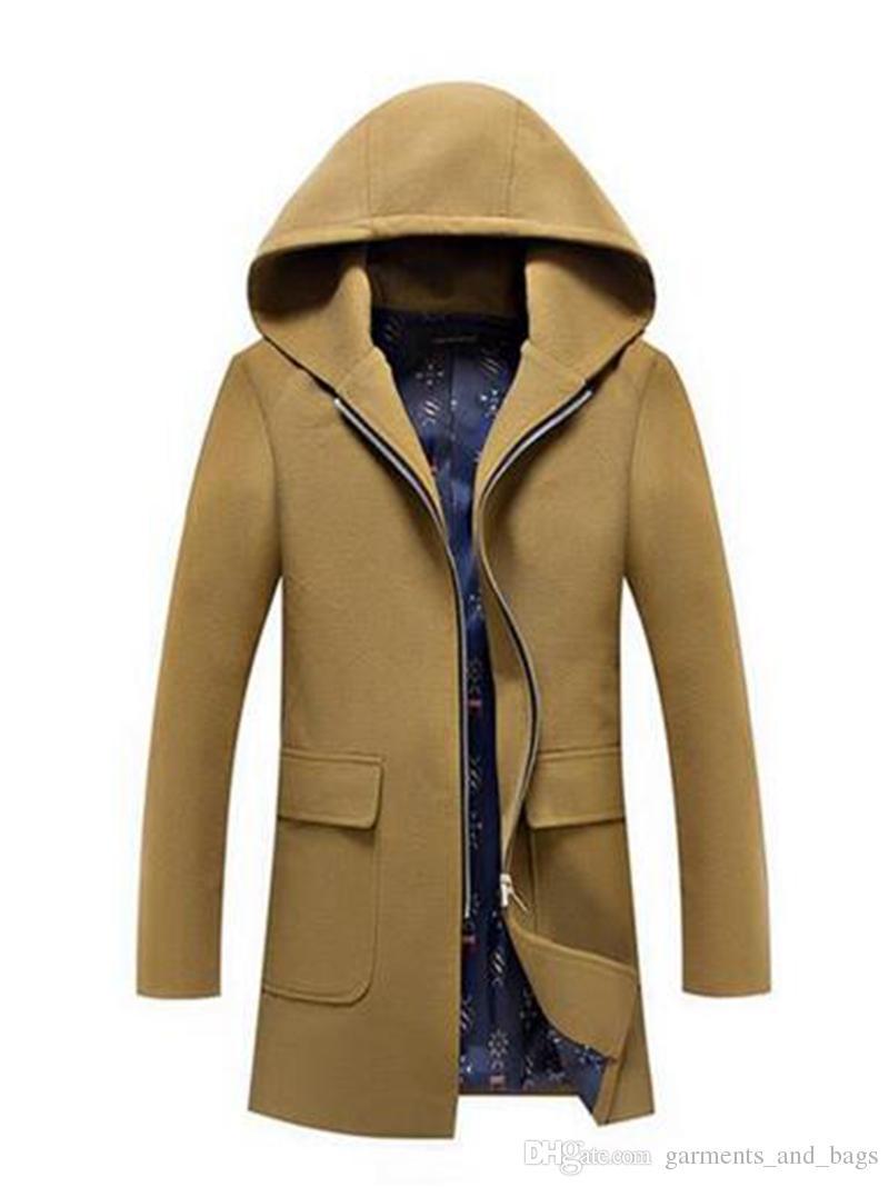 Herren Herbst / Winter in Europa und die neue Freizeitmode Tuch locker pflegen die Moral auch Cap Trenchcoat / M-3XL