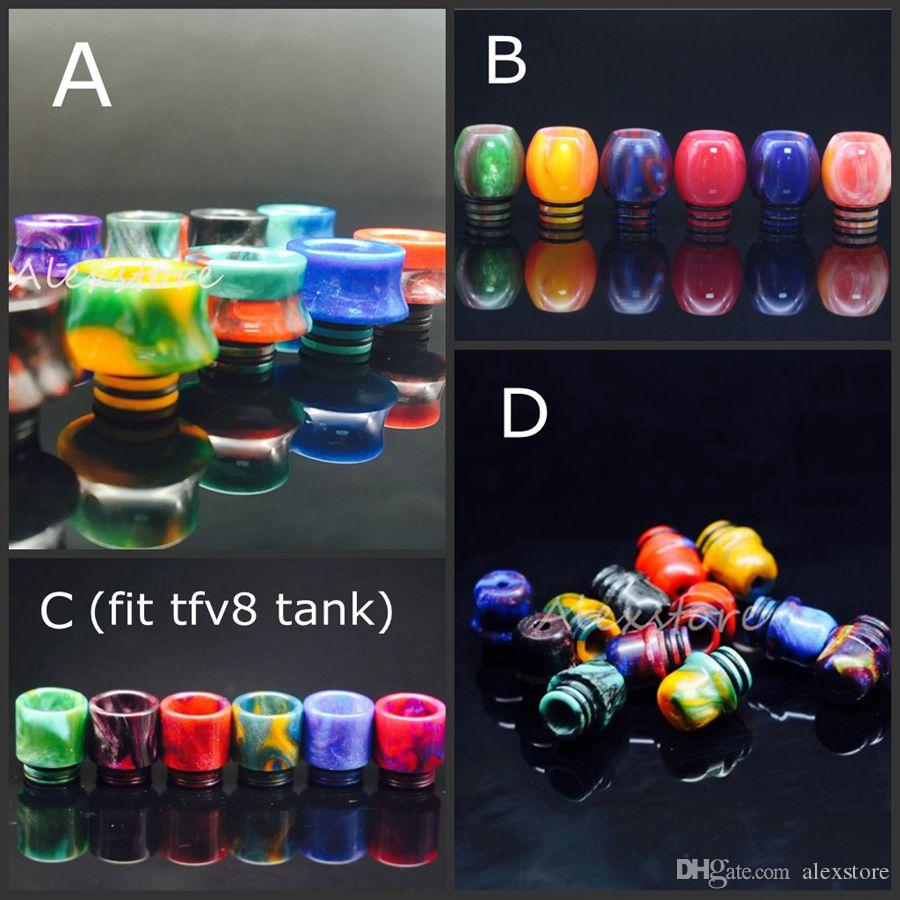 4 Styles Epoxy Resin Ball Shape Driptip 510 Drip Tips Resin Stone Drip Tip for TFV8 Tank RDA Vape Colorful Wide Bore Mouthpiece