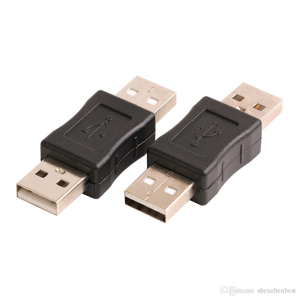 Atacado 500 pçs / lote USB 2.0 Tipo A Macho para Um Adaptador Macho Conector Conversor Acoplador