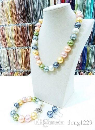 Set di orecchini da 14mm multicolor south sea perla collana per perle