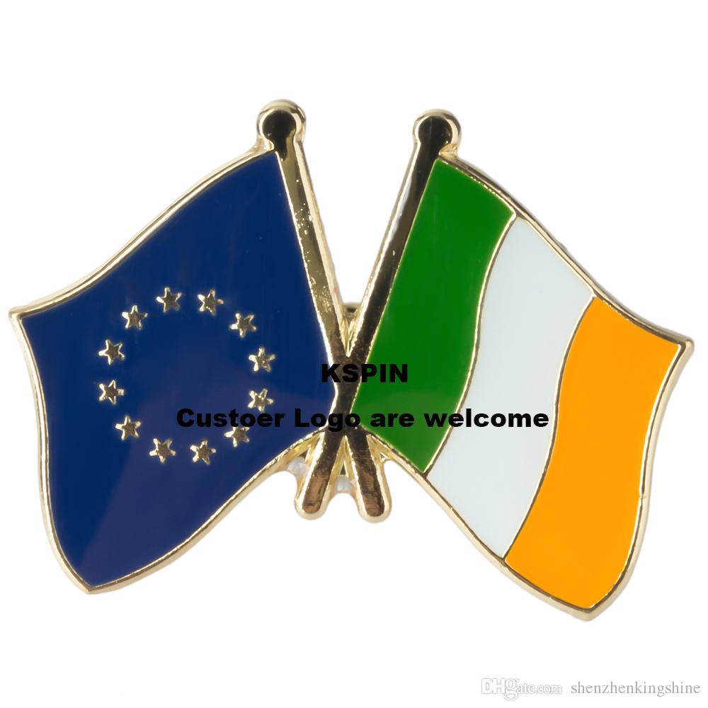 Pin 10pcs della bandierina del distintivo della bandierina della bandiera dell'Irlanda dell'Unione Europea molto spedizione gratuita XY0073-4