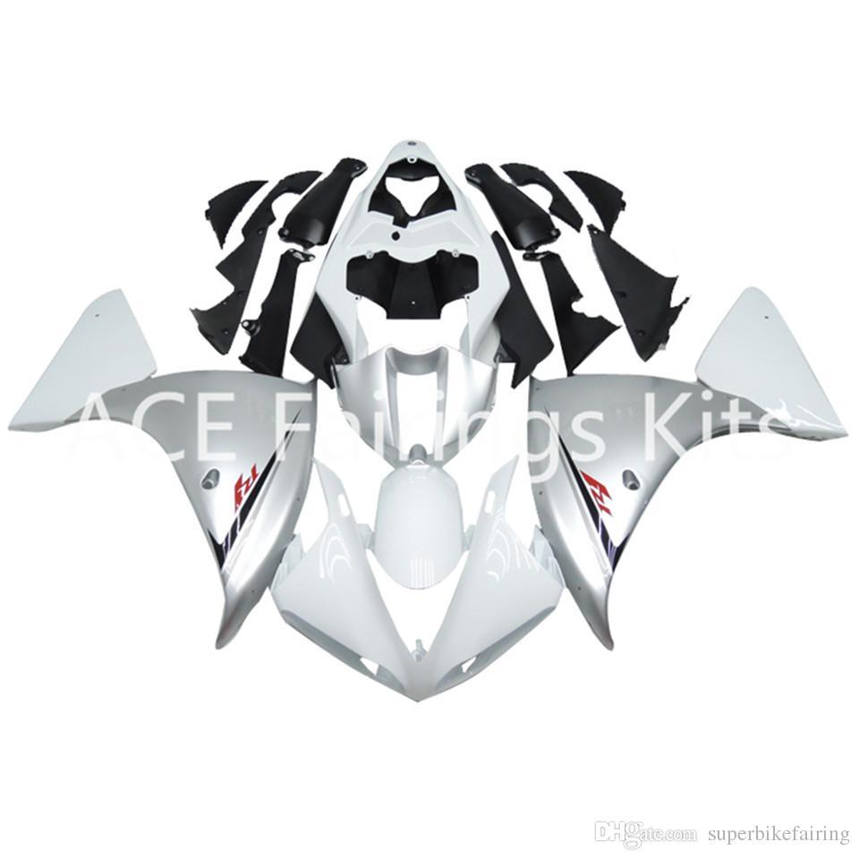 3 regalos gratuitos Carenados completos para Yamaha YZF 1000-YZF-R1-09-10-11-12 YZF-R1-2009-2010-2011-2012 Kit de carenado completo para motocicleta Black White v21