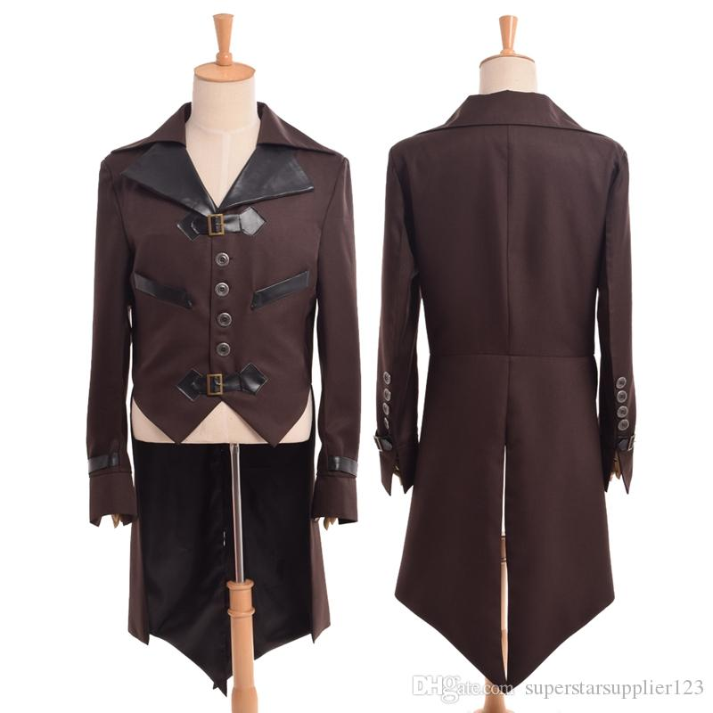 1pc Vintage Victorian Steampunk Aviator Cosplay Costume Collared Mens Brown Swallow-tailed Coat Outwear New Fast Shipment