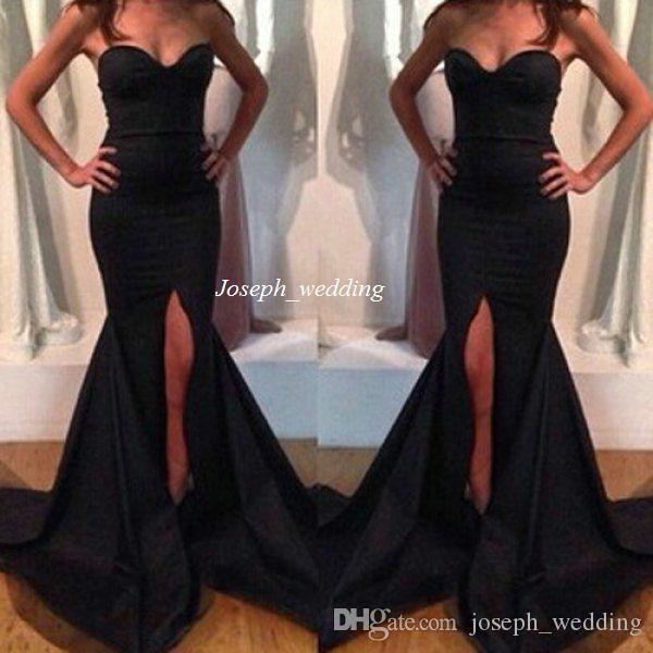 Ücretsiz Kargo Yeni Siyah Renk Balo Elbise Gömme İnce Kızlar Sevgiliye Uzun Tren Ön Bölünmüş Saten Abiye Uzun Örgün Elbise