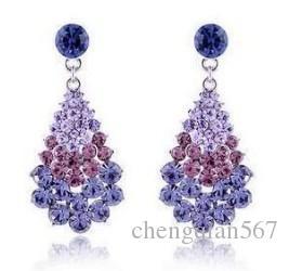 dois brincos de waterdrop das mulheres do diamante da cor (2 * 4.5cm) (ma52)
