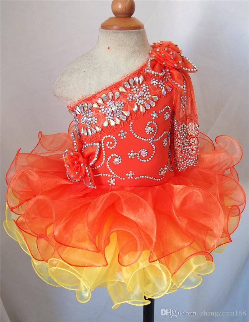 2019 Orange One Sleeve Beautiful Design Flower Girl Dresses Girls Pageant Dresses Mini Short Cupcake Infant Toddler Dresses