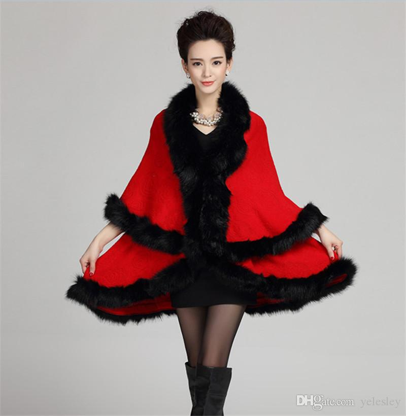겨울 여자 망토와 판초 패션 가짜 여우 모피 칼라 캐시미어 스웨터 여성 니트 가디건 판쵸
