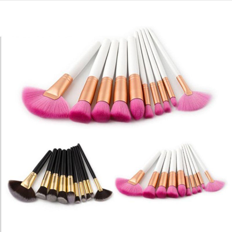 10Pcs/set professional makeup brushes Set beauty Make Up Brush Set foundation brush Kits Wood Handle Nylon Hair powder brushes of makeup