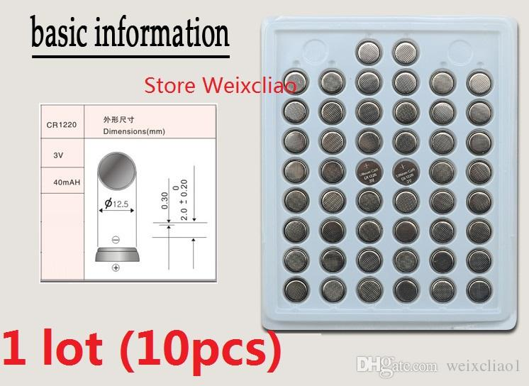 10pcs 1 lot CR1220 3V lithium li ion button cell battery CR 1220 3 Volt li-ion coin batteries tray package Free Shipping