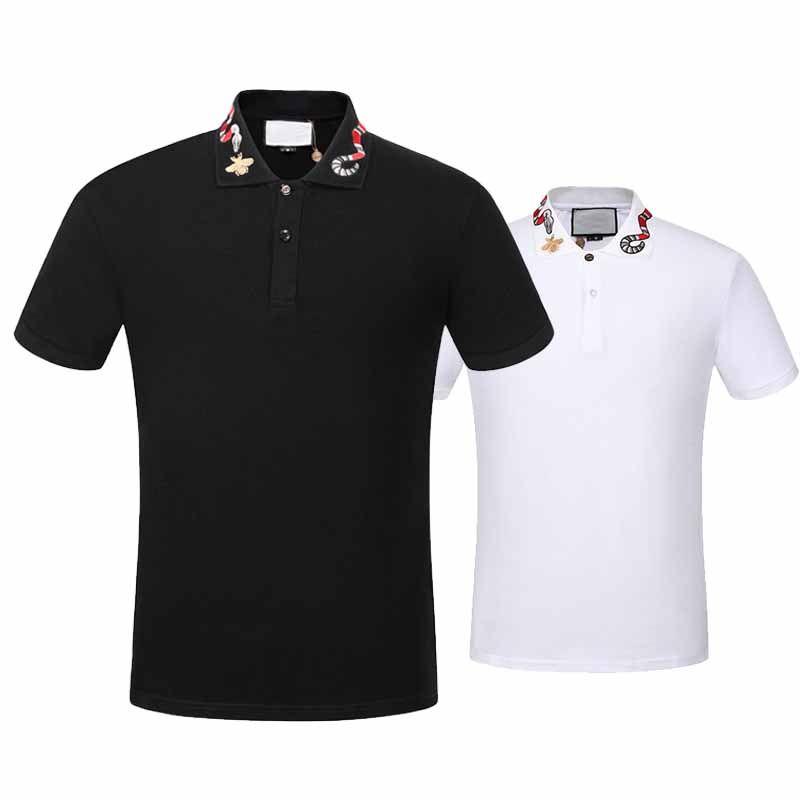 2017 أعلى جودة الصيف القطن t-shirt قمزة طوق ثعبان التطريز تل ماركة عالية الجودة الشوارع أسود أبيض
