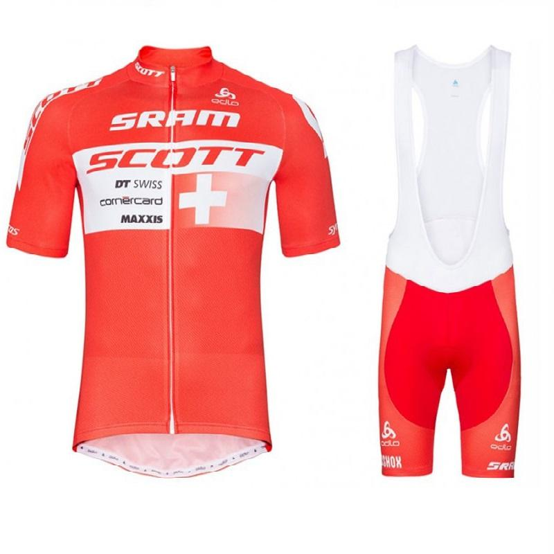 2017 Scott Sram Swiss Red Cycling Jersey And Bib Shorts Kit Bisiklet team sport suit bike maillot ropa ciclismo cycling jersey