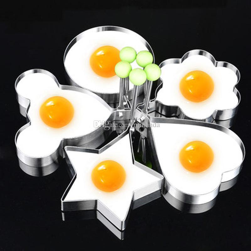Нержавеющая Сталь Жареное Яйцо Shaper Форме Сердца яйцо Блин Кольцо Формы Формы Кухня Кулинария Инструменты 5 конструкций DHL Доставка Бесплатно
