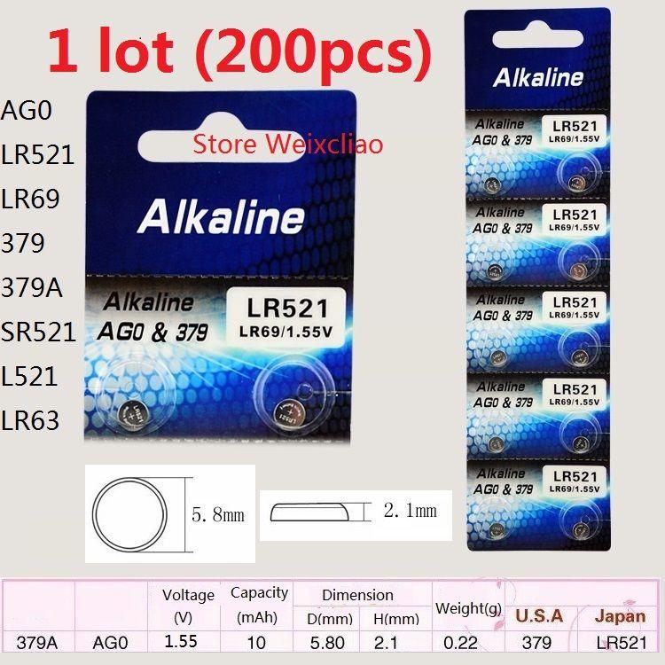 200 قطع 1 وحدة AG0 LR521 LR69 379 379A SR521 L521 LR63 1.55 فولت بطاريات زر خلية البطارية القلوية عملة مجانية