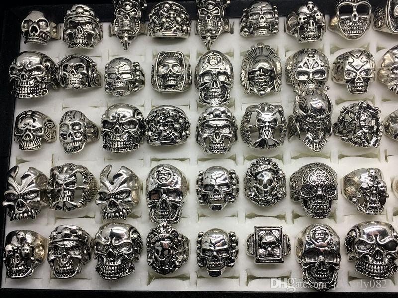 남자에 대 한 도매 50pcs 로트 빈티지 해골 해골 뼈대 쥬얼리 반지 펑크 혼합 스타일 반지