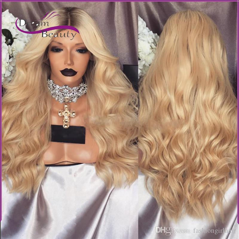 Thick 180density Dark Roots ombre Blonde Synthetic Lace Front Wig Heat Resistant Hair Wavy Body Wave Wigs for Black Women