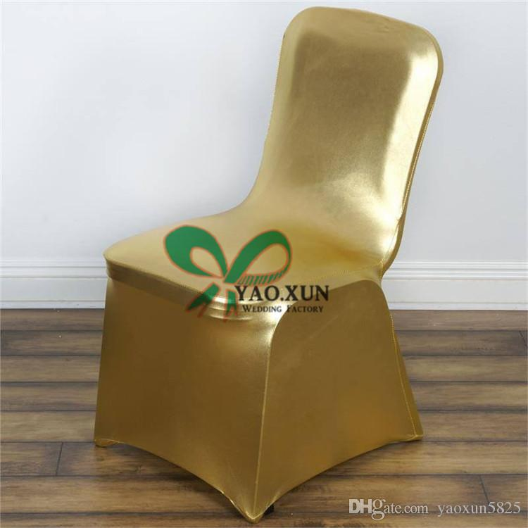 Gold And Silver Coated Bronzing Lycra Spandex Chair Cover Wedding Decoration