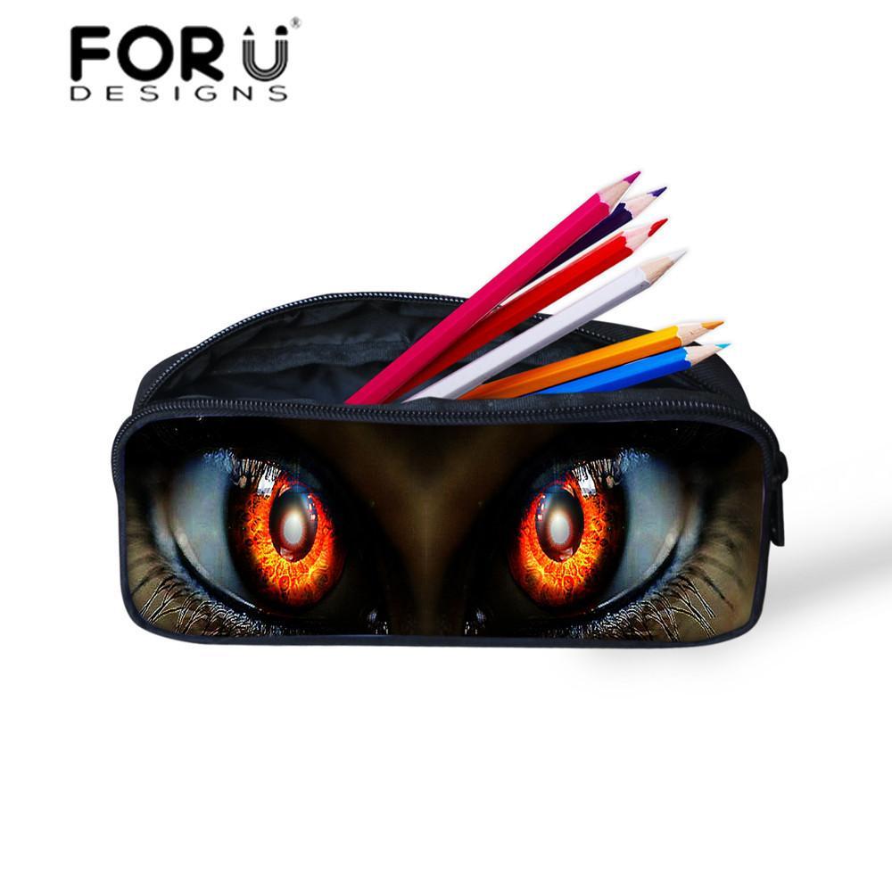 All'ingrosso-Donne Make Up Bag Organizer Trooper Cat 3d Grandi occhi Stampati Pencil Bags Case Pen Pouch per ragazze Galactic Space Bags FORUDESIGNS