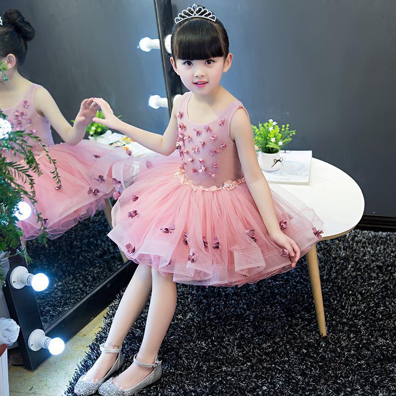 Elegante fiore ragazza ragazza abito viola pizzo abito da sposa appliques party tulle principessa abito da compleanno senza maniche prima abito da comunione