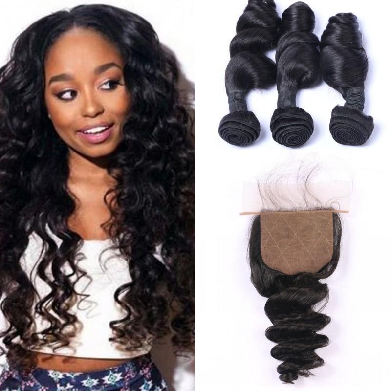 Mongolian Loose Wave Hair Bundles with Closure 100% Unprocessed Human Hair Silk Base Closure with 3 Bundles FDSHINE