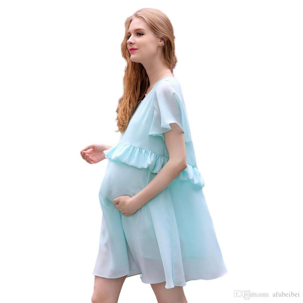 2018 Elegant Summer A Line Maternity Dresses Light Blue Short Sleeve ...