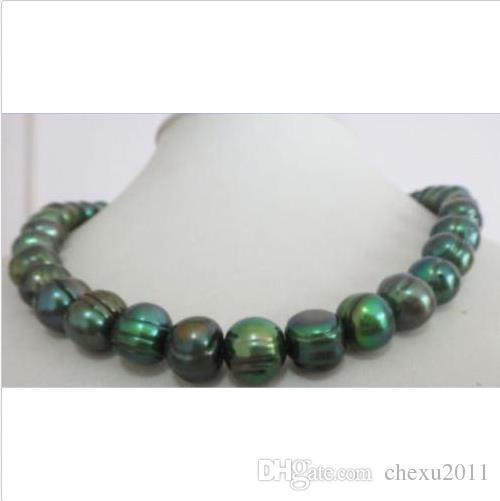 """collar de perlas verde pavo real barroco tahitiano natural de 11-12mm 18 """"CLA AMARILLO 14K"""