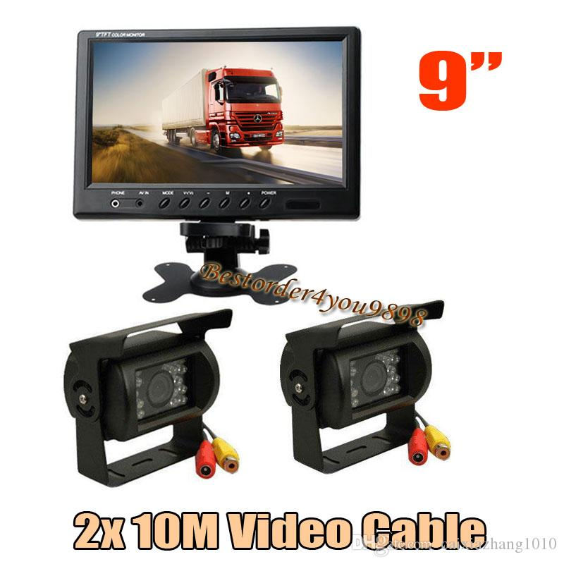 "2x 18 LED IR Car Camera Revertendo Waterproof + 9"" monitor LCD para Trailer Bus Rear View Kit frete grátis"