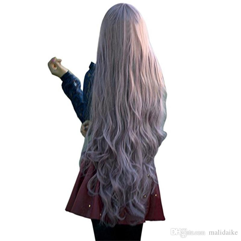 Malidaike Anime Fashion Womens Lady Long Curly Wavy Hair Full Wigs Cosplay Party Anime Lolita Wig