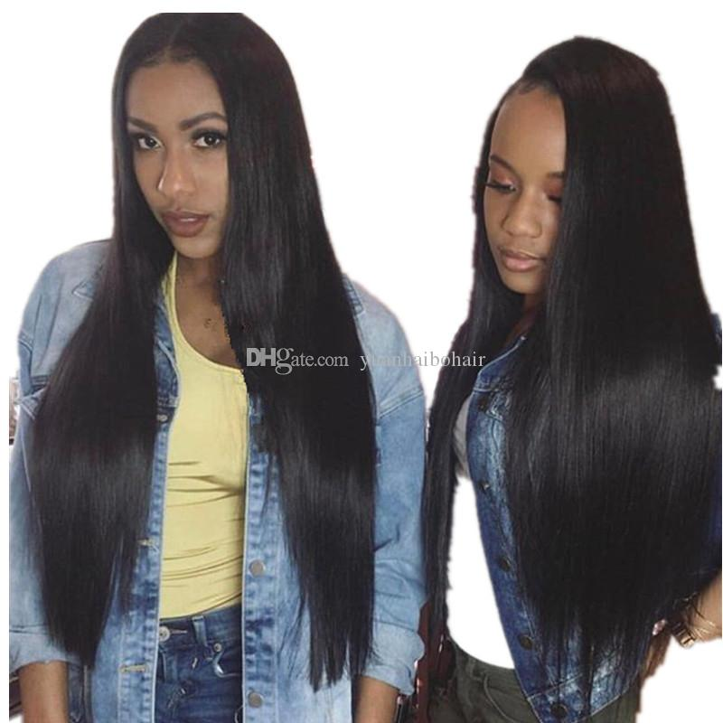 Best quality 30inch 1b silky straight european long virgin human hair lace front wigs free shipping
