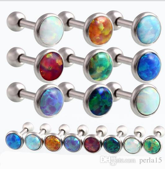 10 pz / lotto (1.2x6x3 / 4 / 5mm) Hot Opal Dell'orecchio Cartilagine Piercing 16 Gauge Palla Orecchio Cartilagine Piercing Orecchini Orecchini Orecchini