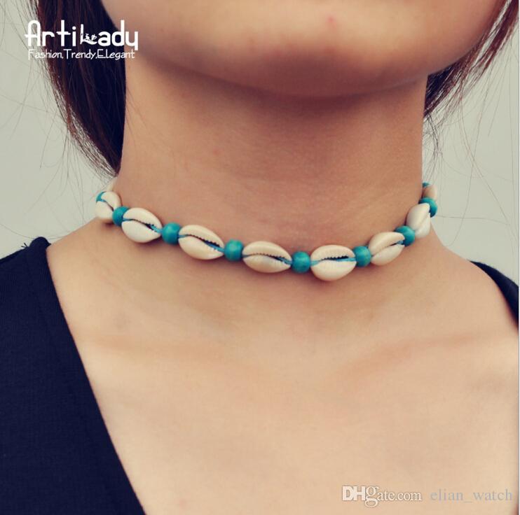 Moda collana di conchiglie di conchiglia naturale vintage corda di velluto perline conchiglia naturale boho gioielli boho per le donne