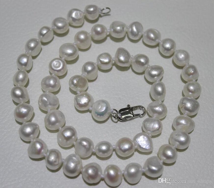 """Nouveau collier de perles de culture d'eau douce baroque blanc 10-12mm 18 """""""